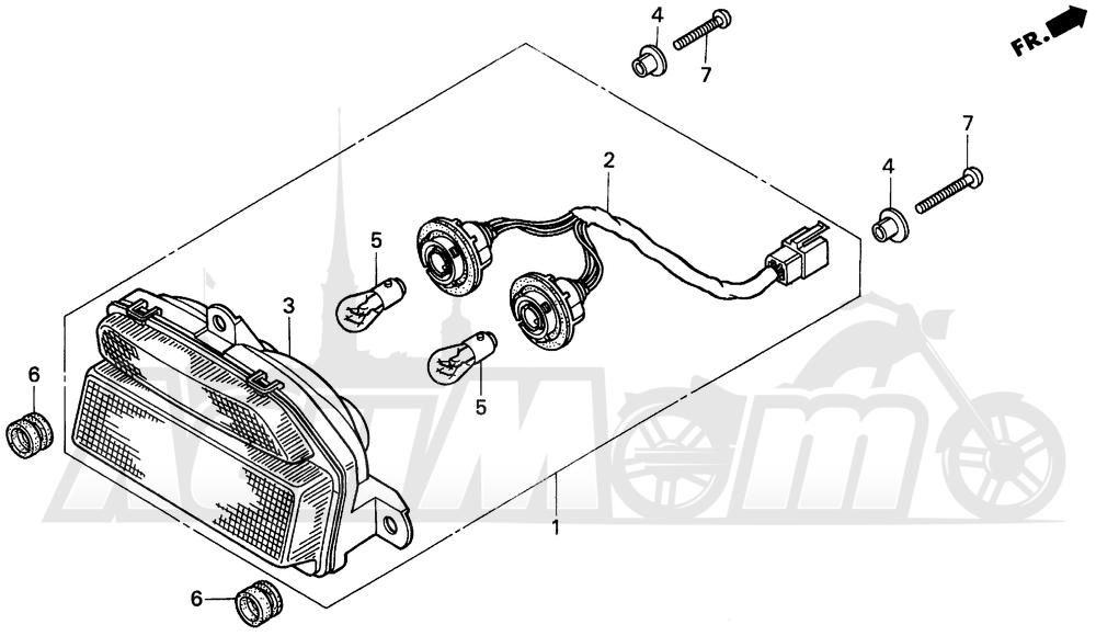 Запчасти для Мотоцикла Honda 1996 CBR900RR Раздел: TAILLIGHT   задний фонарь
