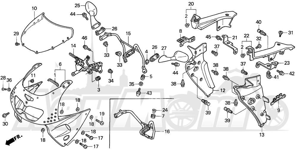 Запчасти для Мотоцикла Honda 1996 CBR900RR Раздел: UPPER COWL 95-97 | верхний обтекатель 95 97