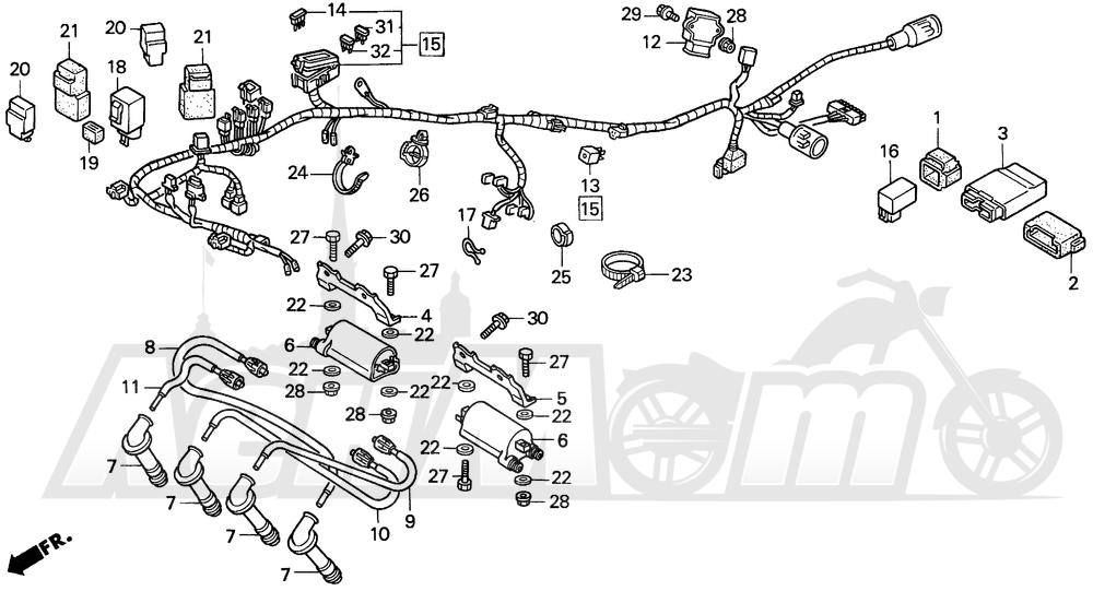 Запчасти для Мотоцикла Honda 1996 CBR900RR Раздел: WIRE HARNESS | жгут проводов