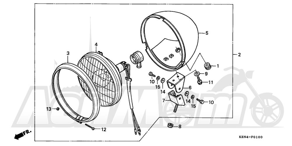 Запчасти для Мотоцикла Honda 1996 CMX250C Раздел: HEADLIGHT (1) | передняя фара (1)