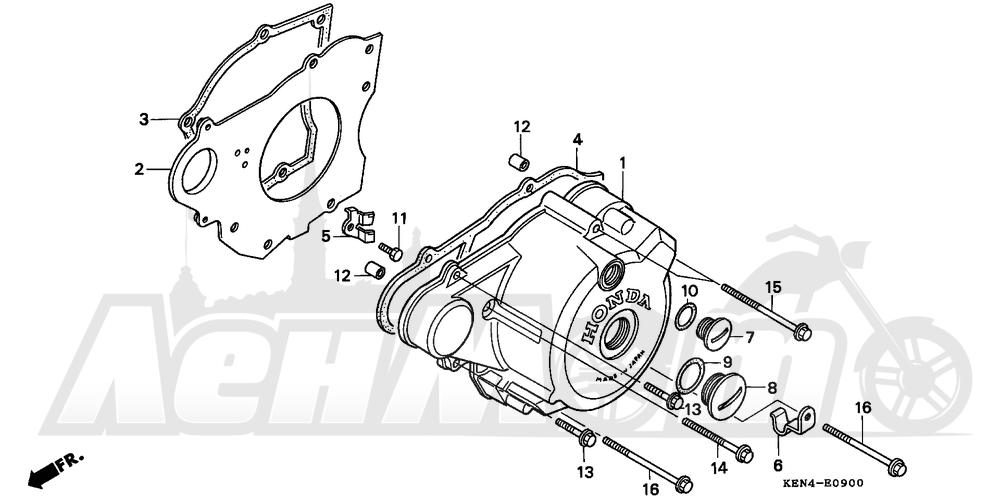 Запчасти для Мотоцикла Honda 1996 CMX250C Раздел: LEFT CRANKCASE COVER | левая сторона крышка картера