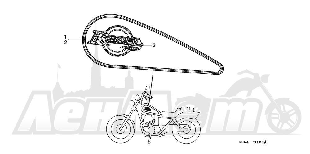 Запчасти для Мотоцикла Honda 1996 CMX250C Раздел: MARK 96 | знак 96