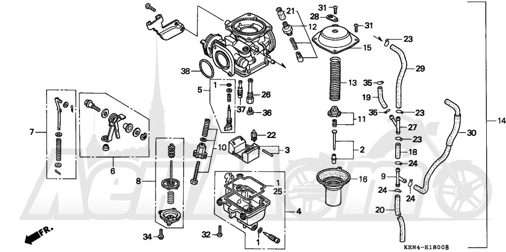 Запчасти для Мотоцикла Honda 1996 CMX250C Раздел: CARBURETOR   карбюратор
