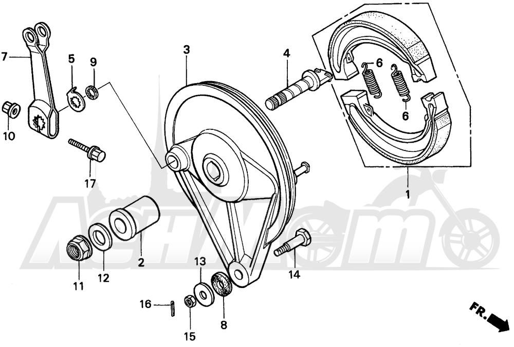 Запчасти для Мотоцикла Honda 1996 CMX250C Раздел: REAR BRAKE PANEL | задний тормоз панель
