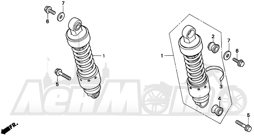 Запчасти для Мотоцикла Honda 1996 CMX250C Раздел: REAR SHOCK ABSORBER | зад амортизатор