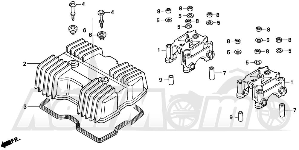 Запчасти для Мотоцикла Honda 1996 CMX250C Раздел: CYLINDER HEAD COVER | головка цилиндра крышка