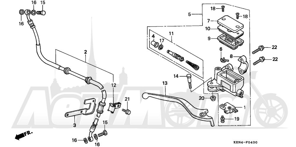 Запчасти для Мотоцикла Honda 1996 CMX250C Раздел: FRONT BRAKE MASTER CYLINDER   передний тормоз главный цилиндр