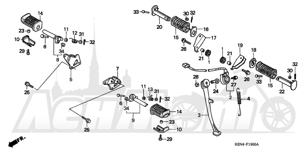 Запчасти для Мотоцикла Honda 1996 CMX250C Раздел: STEP | подножка