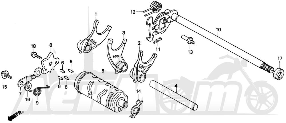 Запчасти для Мотоцикла Honda 1996 CMX250C Раздел: GEARSHIFT DRUM | переключение передач барабан