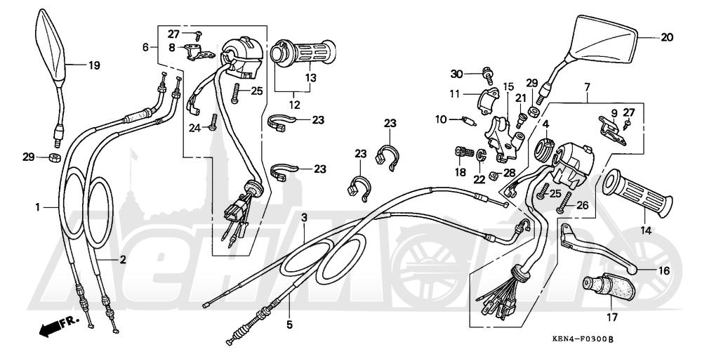 Запчасти для Мотоцикла Honda 1996 CMX250C Раздел: HANDLE SWITCH AND CABLES AND MIRRORS   ручной переключатель и тросики, кабели и зеркала