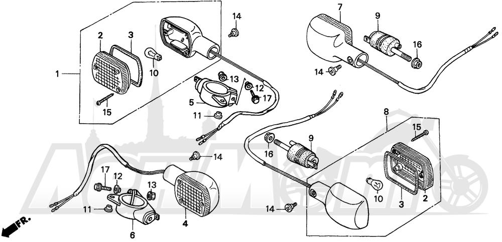 Запчасти для Мотоцикла Honda 1996 CMX250C Раздел: TURN SIGNAL | сигнал поворота