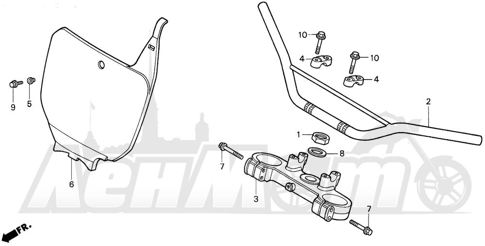 Запчасти для Мотоцикла Honda 1996 CR125R Раздел: HANDLEBAR 95-97 | руль 95 97
