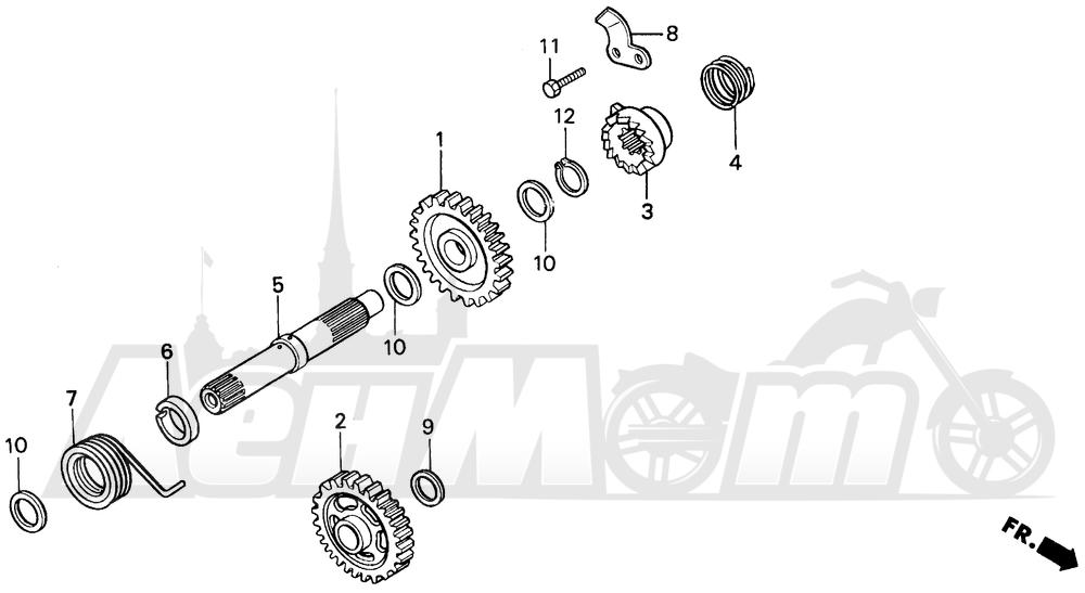 Запчасти для Мотоцикла Honda 1996 CR125R Раздел: KICK STARTER SPINDLE | ножной стартер шпиндель