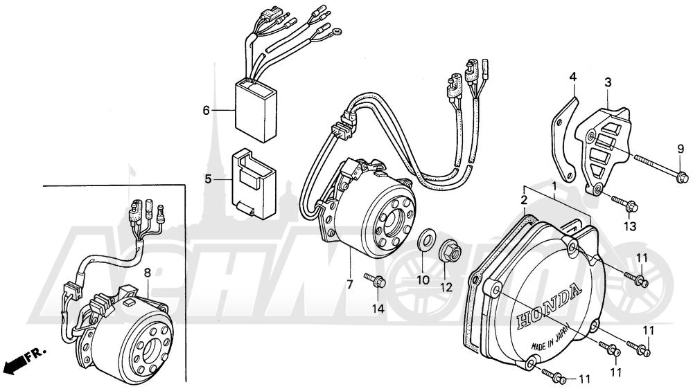 Запчасти для Мотоцикла Honda 1996 CR125R Раздел: LEFT CRANKCASE COVER | левая сторона крышка картера