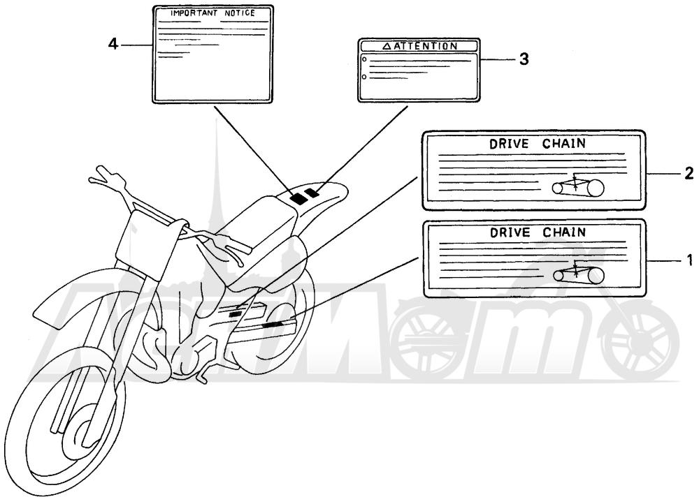 Запчасти для Мотоцикла Honda 1996 CR125R Раздел: CAUTION LABEL | предупреждение этикетка, метка