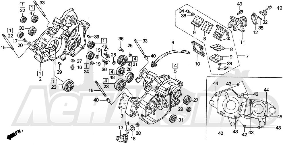 Запчасти для Мотоцикла Honda 1996 CR125R Раздел: CRANKCASE   картер
