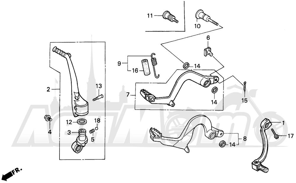 Запчасти для Мотоцикла Honda 1996 CR125R Раздел: PEDAL | педаль