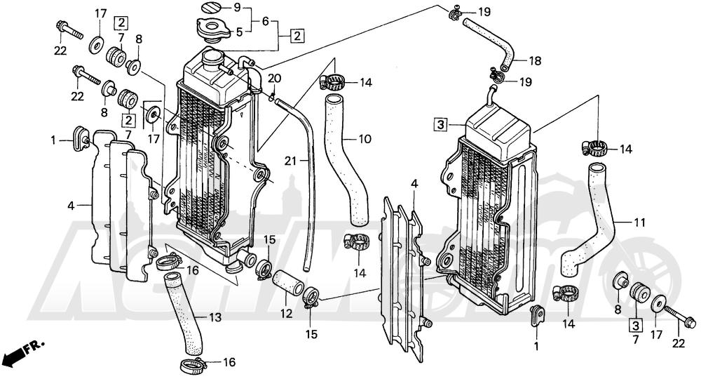 Запчасти для Мотоцикла Honda 1996 CR125R Раздел: RADIATOR | радиатор