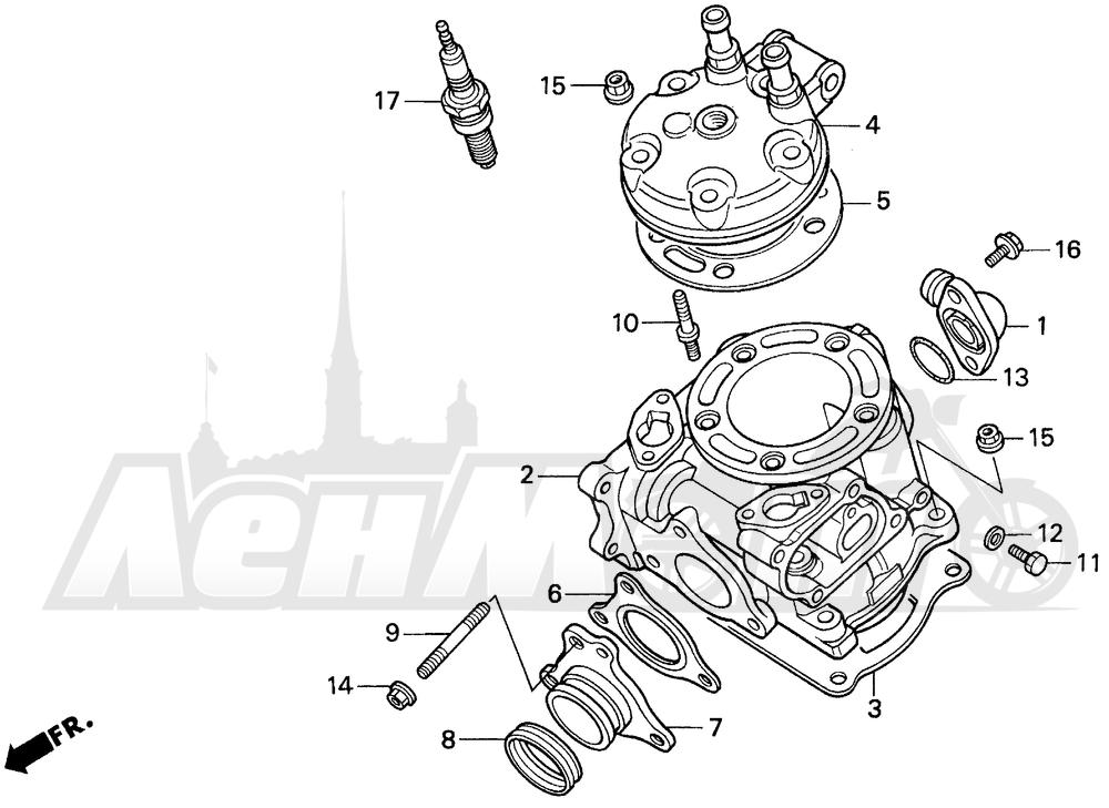 Запчасти для Мотоцикла Honda 1996 CR125R Раздел: CYLINDER HEAD | головка цилиндра
