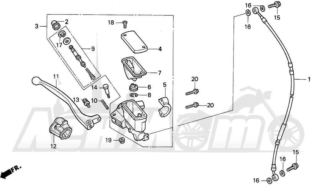 Запчасти для Мотоцикла Honda 1996 CR125R Раздел: FR. BRAKE MASTER CYL. 92-97 | перед. тормоза MASTER CYL. 92 97