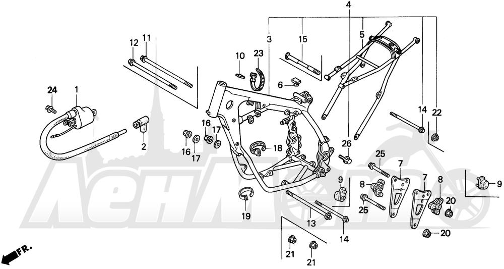 Запчасти для Мотоцикла Honda 1996 CR125R Раздел: FRAME   рама