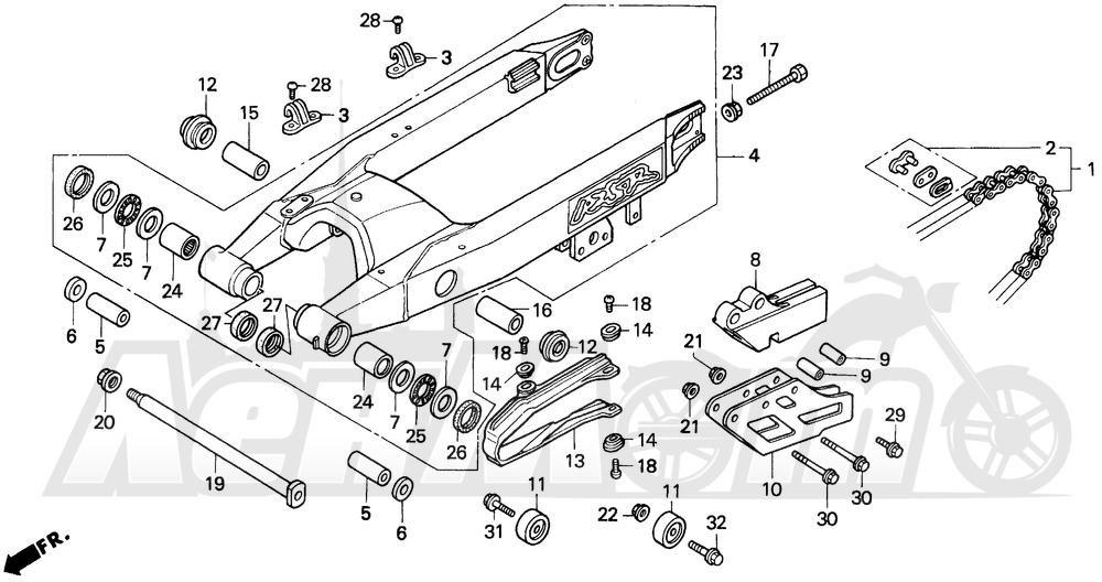 Запчасти для Мотоцикла Honda 1996 CR125R Раздел: SWINGARM 93-96 | маятник 93 96