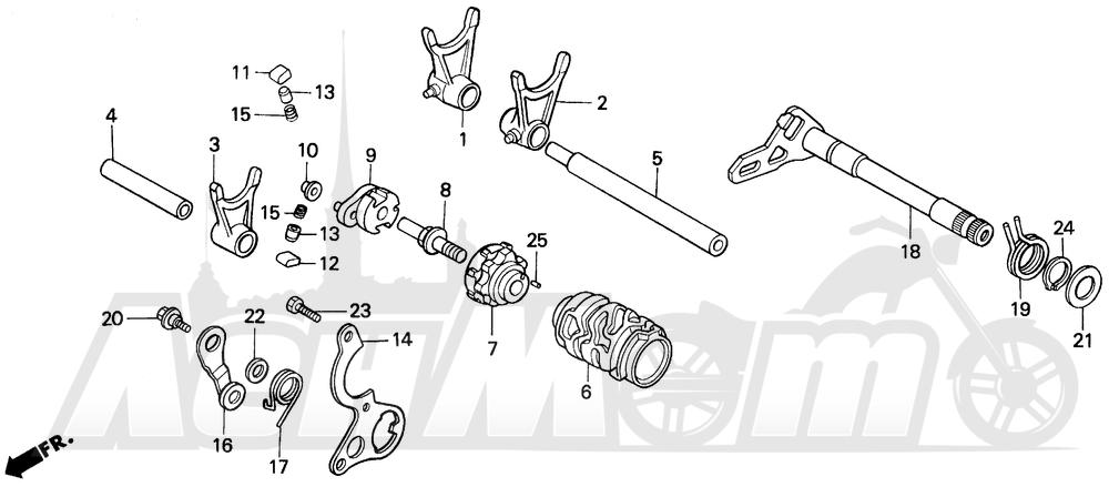 Запчасти для Мотоцикла Honda 1996 CR125R Раздел: GEARSHIFT DRUM | переключение передач барабан