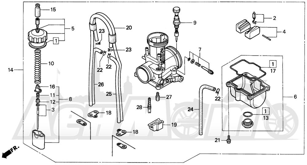 Запчасти для Мотоцикла Honda 1996 CR250R Раздел: CARBURETOR | карбюратор