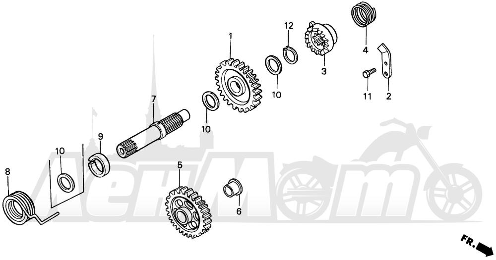 Запчасти для Мотоцикла Honda 1996 CR250R Раздел: KICK STARTER SPINDLE | ножной стартер шпиндель