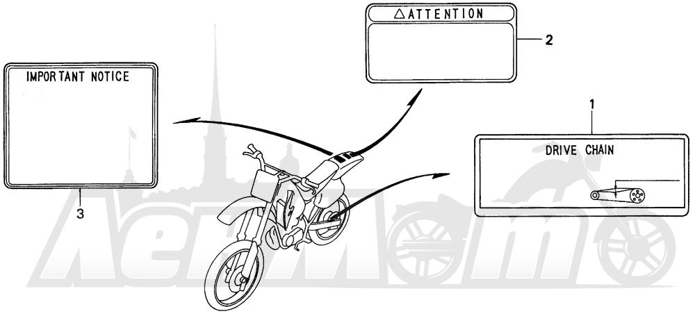 Запчасти для Мотоцикла Honda 1996 CR250R Раздел: CAUTION LABEL   предупреждение этикетка, метка