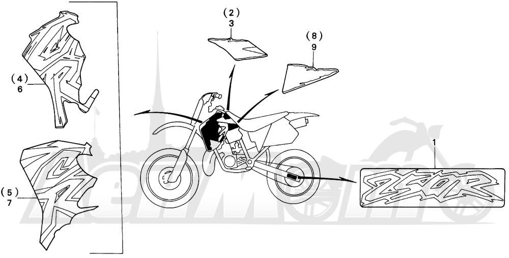 Запчасти для Мотоцикла Honda 1996 CR250R Раздел: MARK 95-96 | знак 95 96