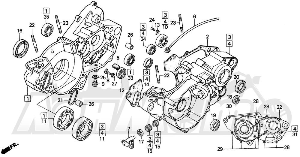 Запчасти для Мотоцикла Honda 1996 CR250R Раздел: CRANKCASE 92-96 | картер 92 96