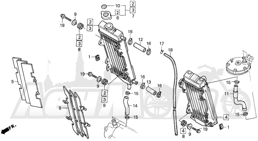 Запчасти для Мотоцикла Honda 1996 CR250R Раздел: RADIATOR 92-96   радиатор 92 96