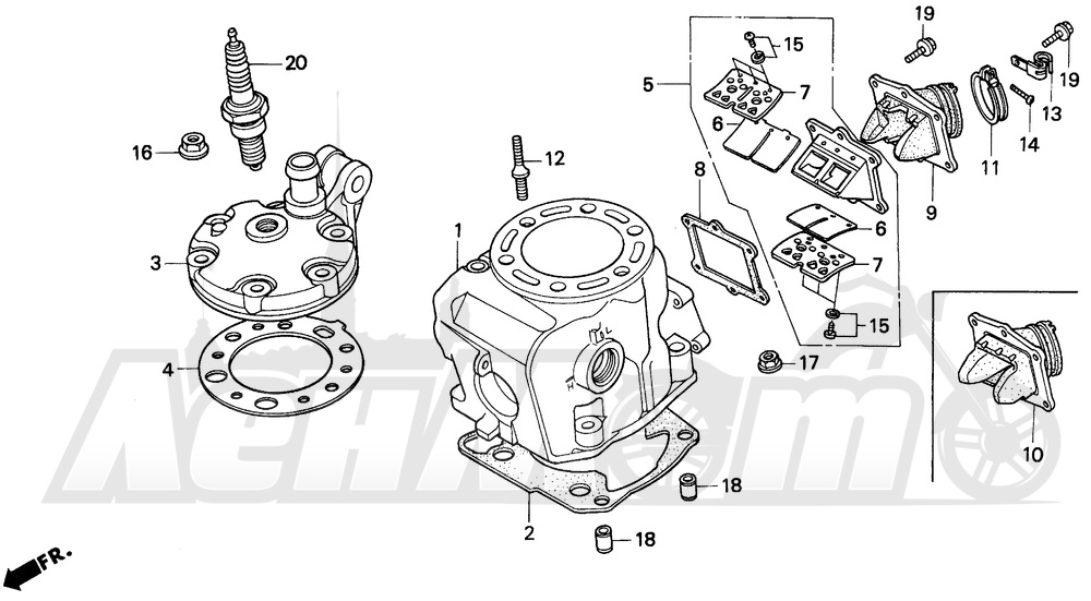 Запчасти для Мотоцикла Honda 1996 CR250R Раздел: CYLINDER HEAD 92-96 | головка цилиндра 92 96
