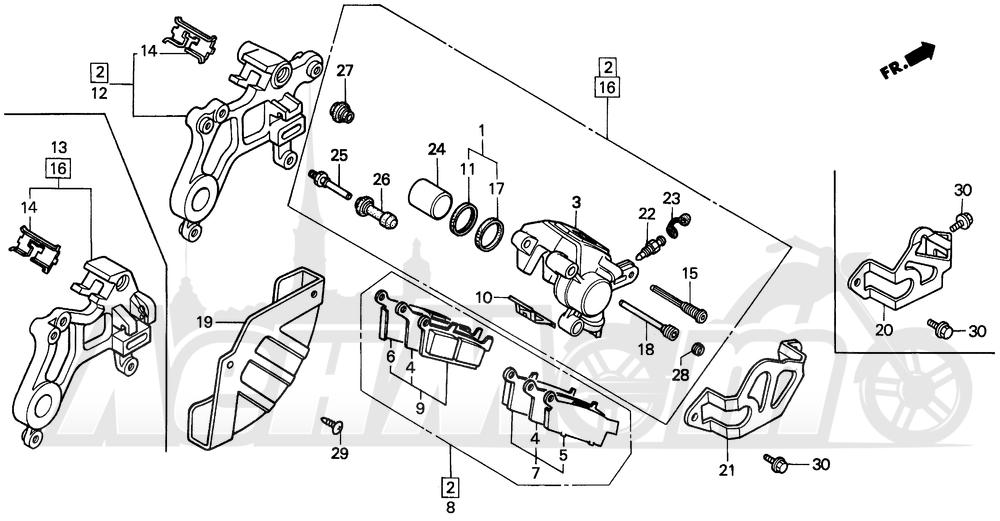 Запчасти для Мотоцикла Honda 1996 CR250R Раздел: REAR BRAKE CALIPER | задний тормоз суппорт