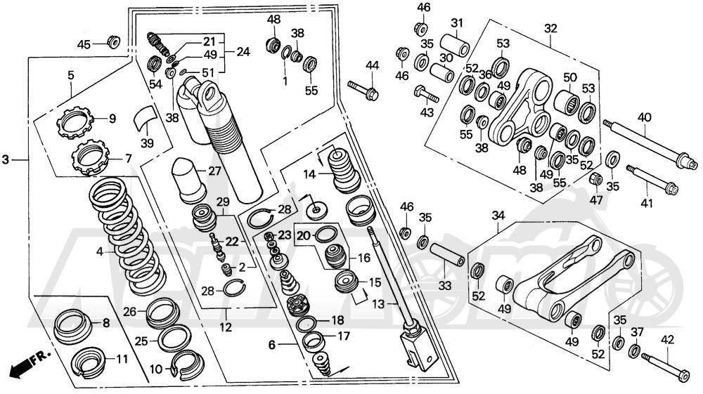 Запчасти для Мотоцикла Honda 1996 CR250R Раздел: REAR SHOCK ABSORBER 95-96 | зад амортизатор 95 96