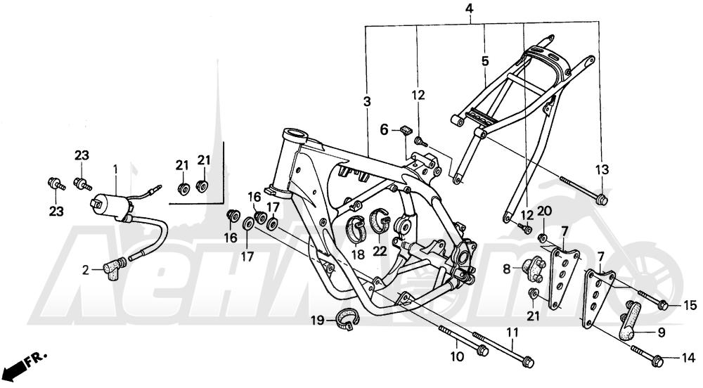 Запчасти для Мотоцикла Honda 1996 CR250R Раздел: FRAME 92-96 | рама 92 96