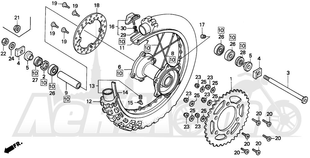 Запчасти для Мотоцикла Honda 1996 CR250R Раздел: REAR WHEEL 92-96 | заднее колесо 92 96