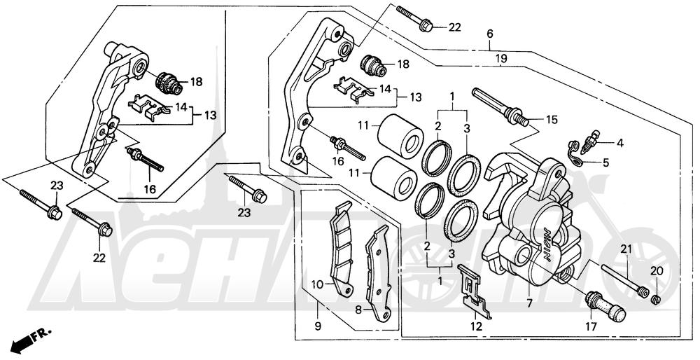 Запчасти для Мотоцикла Honda 1996 CR250R Раздел: FRONT BRAKE CALIPER | передний тормоз суппорт