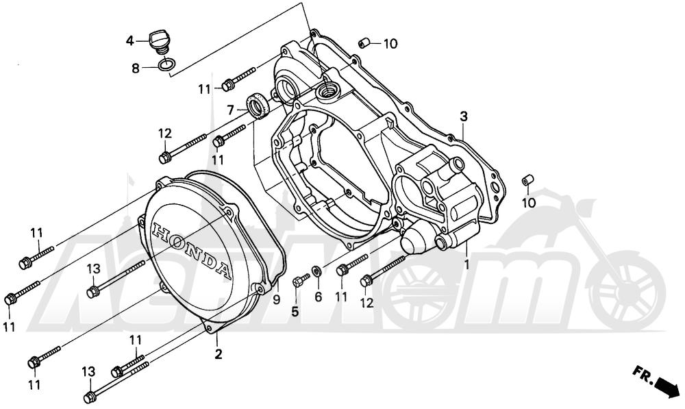 Запчасти для Мотоцикла Honda 1996 CR250R Раздел: RIGHT CRANKCASE COVER 92-96 | правая сторона крышка картера 92 96