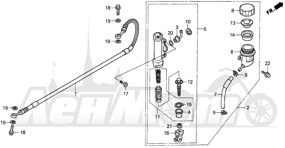Запчасти для Мотоцикла Honda 1996 CR250R Раздел: RR. BRAKE MASTER CYL. | зад. тормоза MASTER CYL.