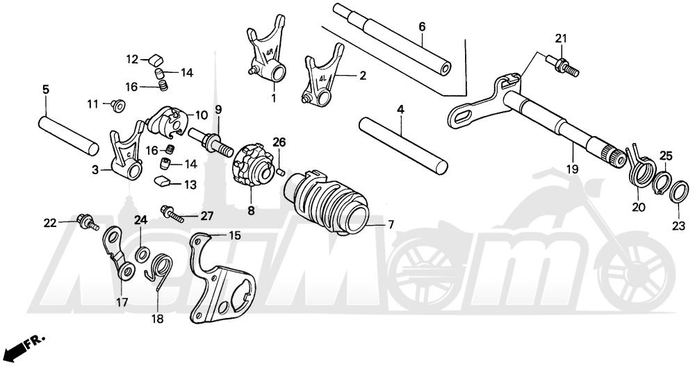 Запчасти для Мотоцикла Honda 1996 CR250R Раздел: GEARSHIFT DRUM | переключение передач барабан
