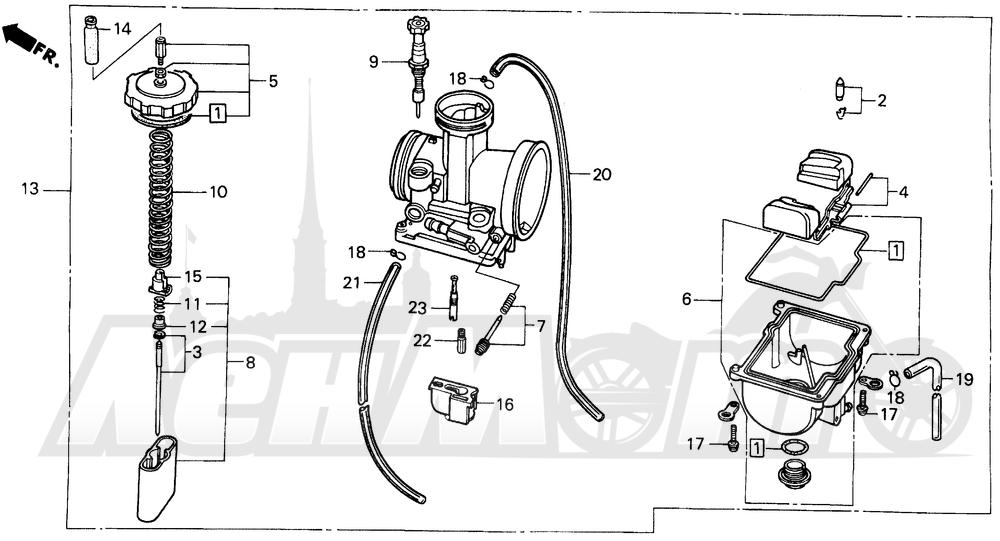 Запчасти для Мотоцикла Honda 1996 CR500R Раздел: CARBURETOR | карбюратор