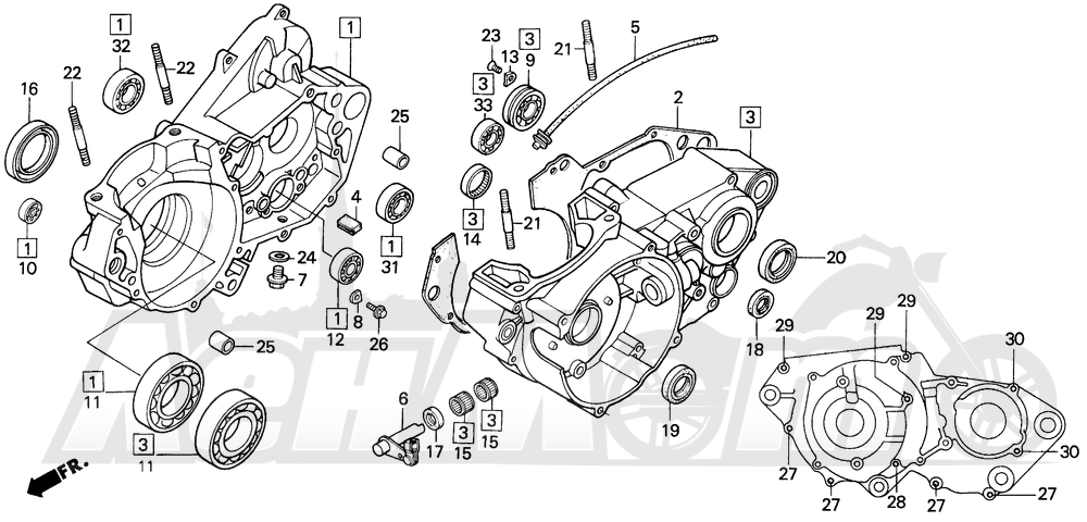 Запчасти для Мотоцикла Honda 1996 CR500R Раздел: CRANKCASE | картер