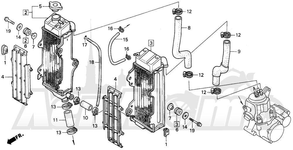 Запчасти для Мотоцикла Honda 1996 CR500R Раздел: RADIATOR | радиатор
