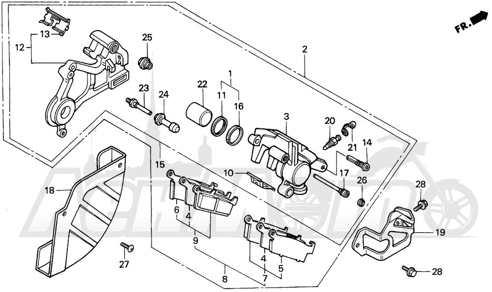 Запчасти для Мотоцикла Honda 1996 CR500R Раздел: REAR BRAKE CALIPER | задний тормоз суппорт
