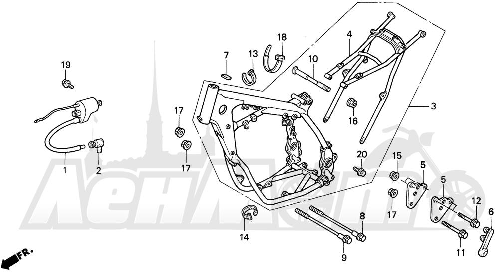 Запчасти для Мотоцикла Honda 1996 CR500R Раздел: FRAME 92-97 | рама 92 97