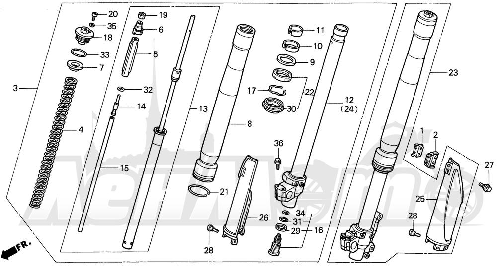 Запчасти для Мотоцикла Honda 1996 CR500R Раздел: FRONT FORK 95-97 | передняя вилка 95 97