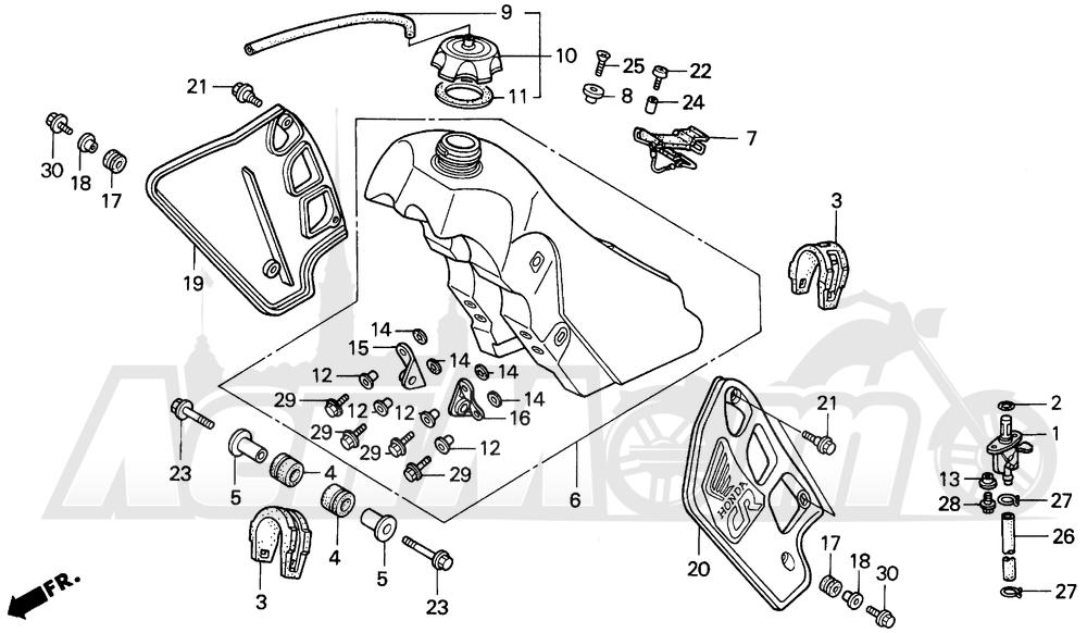 Запчасти для Мотоцикла Honda 1996 CR500R Раздел: FUEL TANK | топливный бак