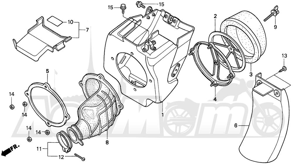 Запчасти для Мотоцикла Honda 1996 CR80R Раздел: AIR CLEANER | очиститель воздуха